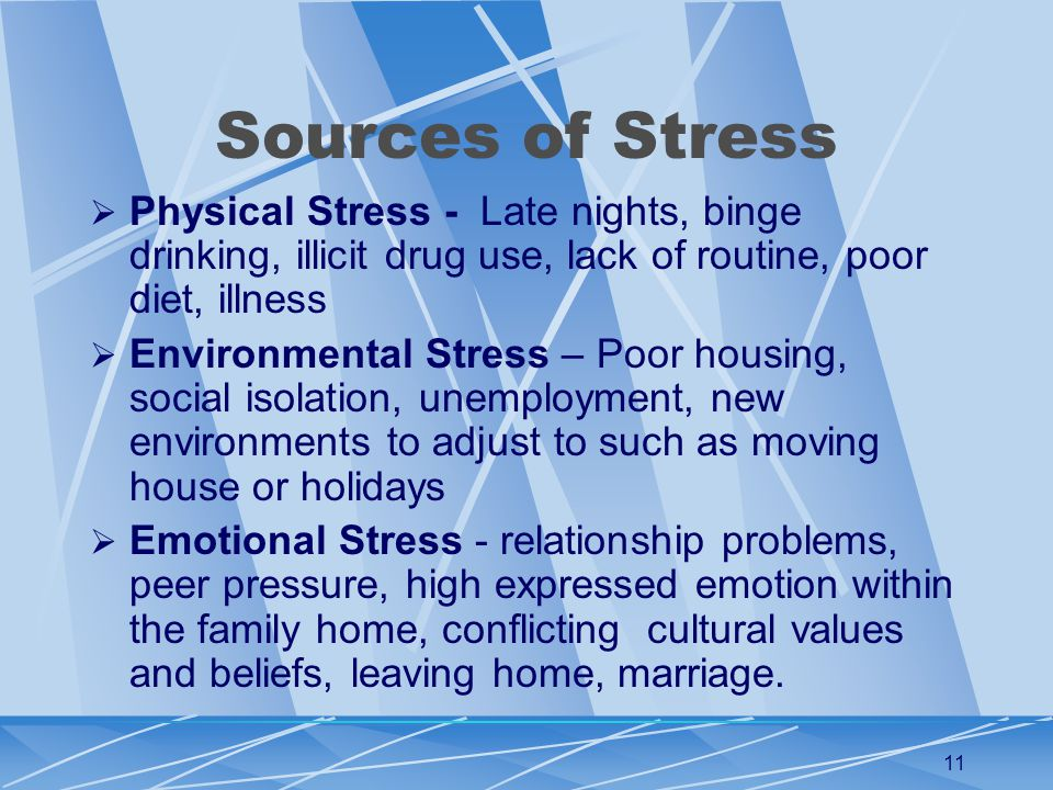 11 Sources of Stress  Physical Stress - Late nights, binge drinking, illicit drug use, lack of routine, poor diet, illness  Environmental Stress – Poor housing, social isolation, unemployment, new environments to adjust to such as moving house or holidays  Emotional Stress - relationship problems, peer pressure, high expressed emotion within the family home, conflicting cultural values and beliefs, leaving home, marriage.