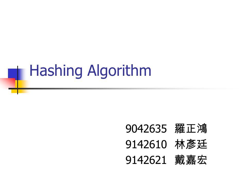 Hashing Algorithm 9042635 羅正鴻 9142610 林彥廷 9142621 戴嘉宏