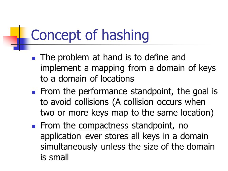 Concept of hashing (con ' t) The information to be retrieved is stored in a hash table which is best thought of as an array of m locations, called buckets The mapping between a key and a bucket is called the hash function The time to store and retrieve data is proportional to the time to compute the hash function