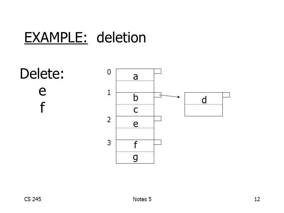 CS 245Notes 512 01230123 a b c e d EXAMPLE: deletion Delete: e f f g