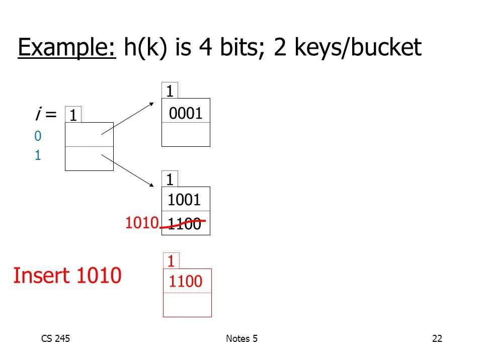 CS 245Notes 522 Example: h(k) is 4 bits; 2 keys/bucket i = 0 1 1 1 1 0001 1001 1100 Insert 1010 1 1100 1010