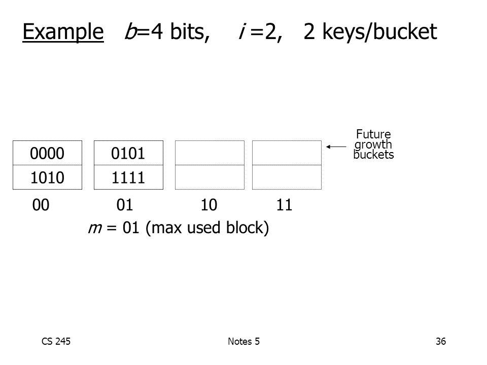CS 245Notes 536 Example b=4 bits, i =2, 2 keys/bucket 00 01 1011 0101 1111 0000 1010 m = 01 (max used block) Future growth buckets