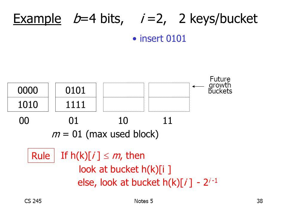 CS 245Notes 538 Example b=4 bits, i =2, 2 keys/bucket 00 01 1011 0101 1111 0000 1010 m = 01 (max used block) Future growth buckets If h(k)[i ]  m, then look at bucket h(k)[i ] else, look at bucket h(k)[i ] - 2 i -1 Rule insert 0101