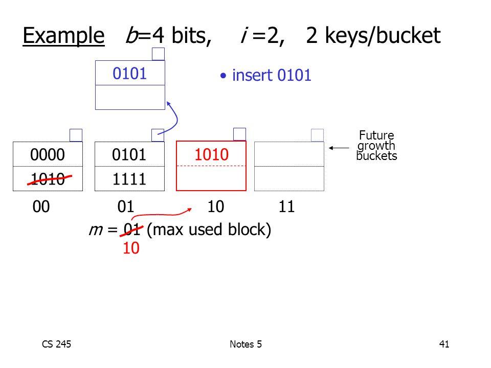 CS 245Notes 541 Example b=4 bits, i =2, 2 keys/bucket 00 01 1011 0101 1111 0000 1010 m = 01 (max used block) Future growth buckets 10 1010 0101 insert 0101