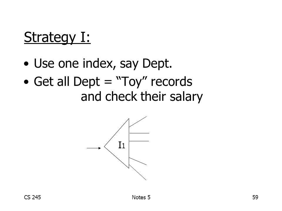 CS 245Notes 559 Strategy I: Use one index, say Dept.