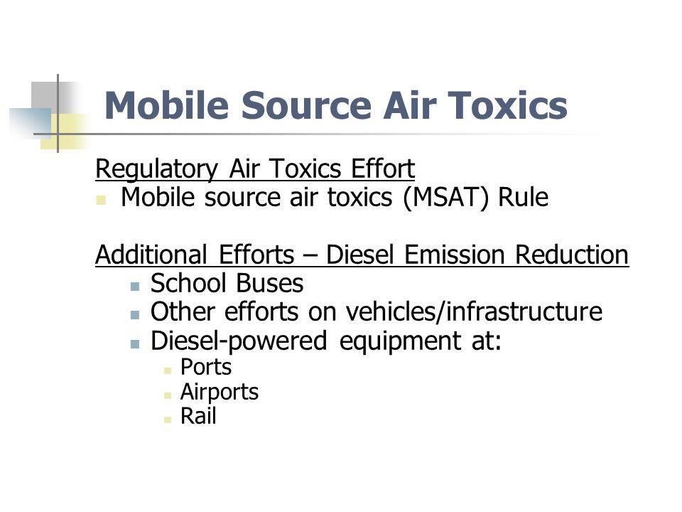 Mobile Source Air Toxics (MSATs) Diesel Emissions (Diesel Particulate Matter +Diesel Exhaust Organic Gases) Acetaldehyde, Acrolein, Benzene, 1,3-Butadiene, Ethylbenzene Formaldehyde, MTBE, Naphthalene, n–Hexane, Styrene, Toluene, Xylene Arsenic Compounds, Chromium Compounds, Lead Compounds Manganese Compounds, Mercury Compounds, Nickel Compounds Polycyclic organic matter (POM), Dioxin/Furans