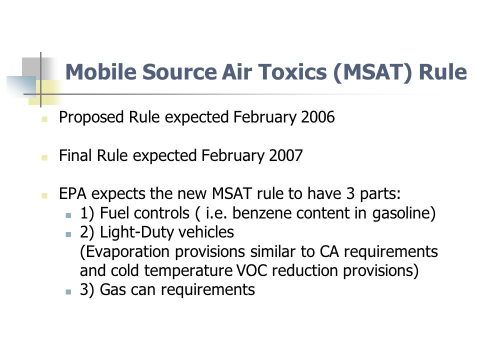 Impact of the EPA Air Quality Standards for Ozone include requirements to reduce VOC ozone precursor emissions under the SIP, some of which are air toxics.