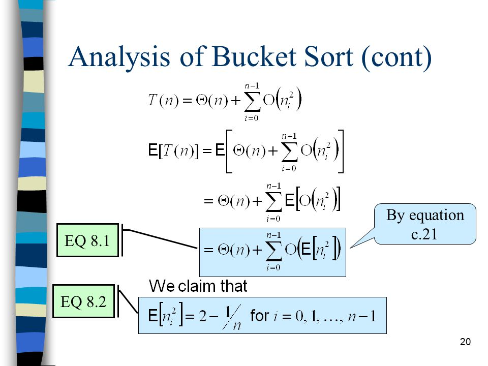 20 Analysis of Bucket Sort (cont) By equation c.21 EQ 8.2 EQ 8.1