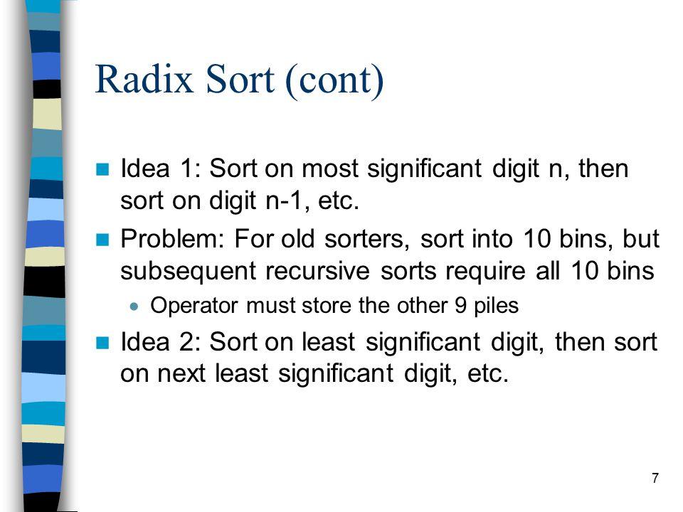 7 Radix Sort (cont) Idea 1: Sort on most significant digit n, then sort on digit n-1, etc.