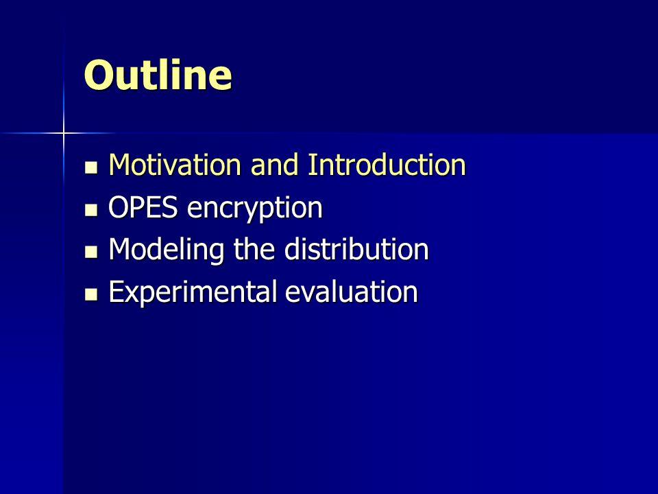 Outline Motivation and Introduction Motivation and Introduction OPES encryption OPES encryption Modeling the distribution Modeling the distribution Ex