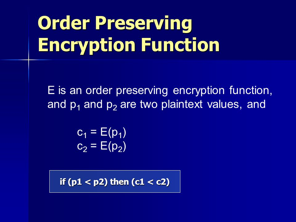 if (p1 < p2) then (c1 < c2) Order Preserving Encryption Function E is an order preserving encryption function, and p 1 and p 2 are two plaintext value