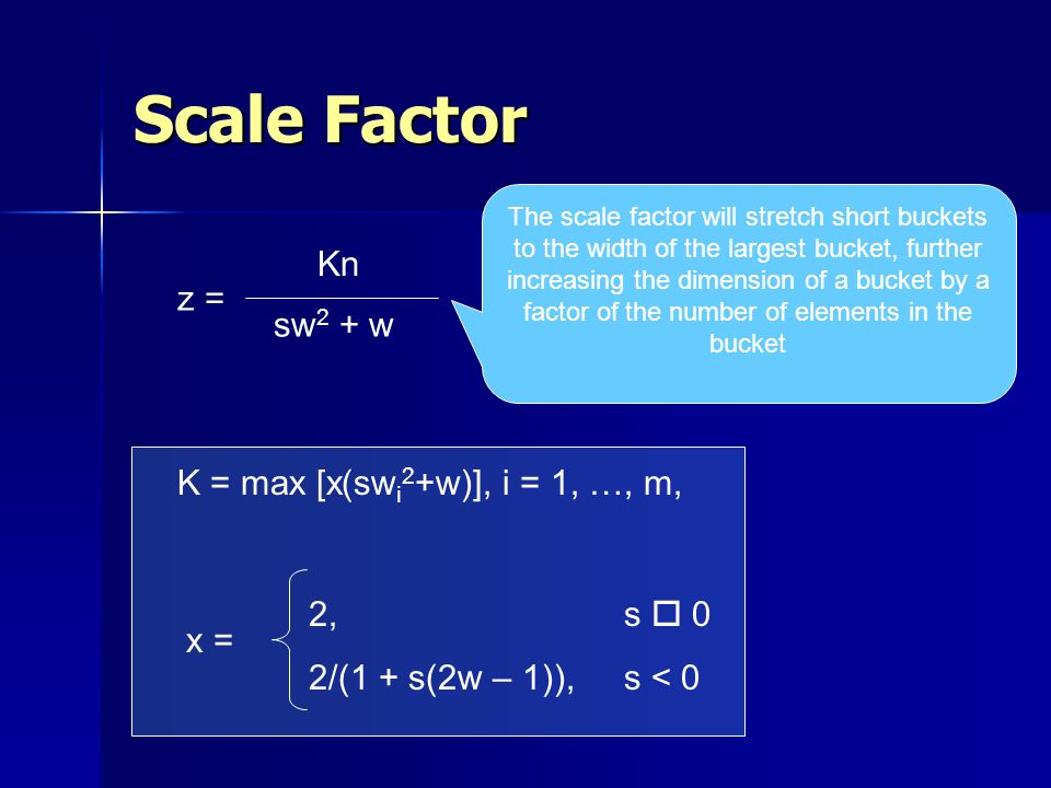 Scale Factor Kn sw 2 + w z = K = max [x(sw i 2 +w)], i = 1, …, m, x = 2,s o 0 2/(1 + s(2w – 1)), s < 0 The scale factor will stretch short buckets to the width of the largest bucket, further increasing the dimension of a bucket by a factor of the number of elements in the bucket
