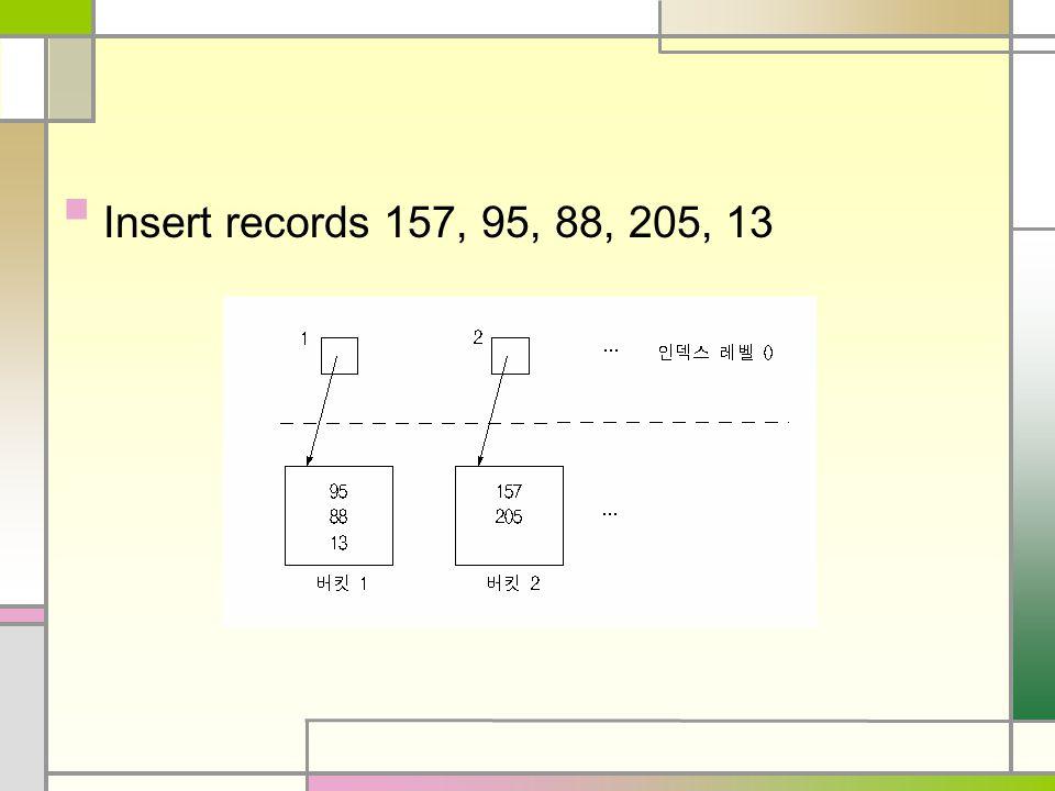 Insert records 157, 95, 88, 205, 13