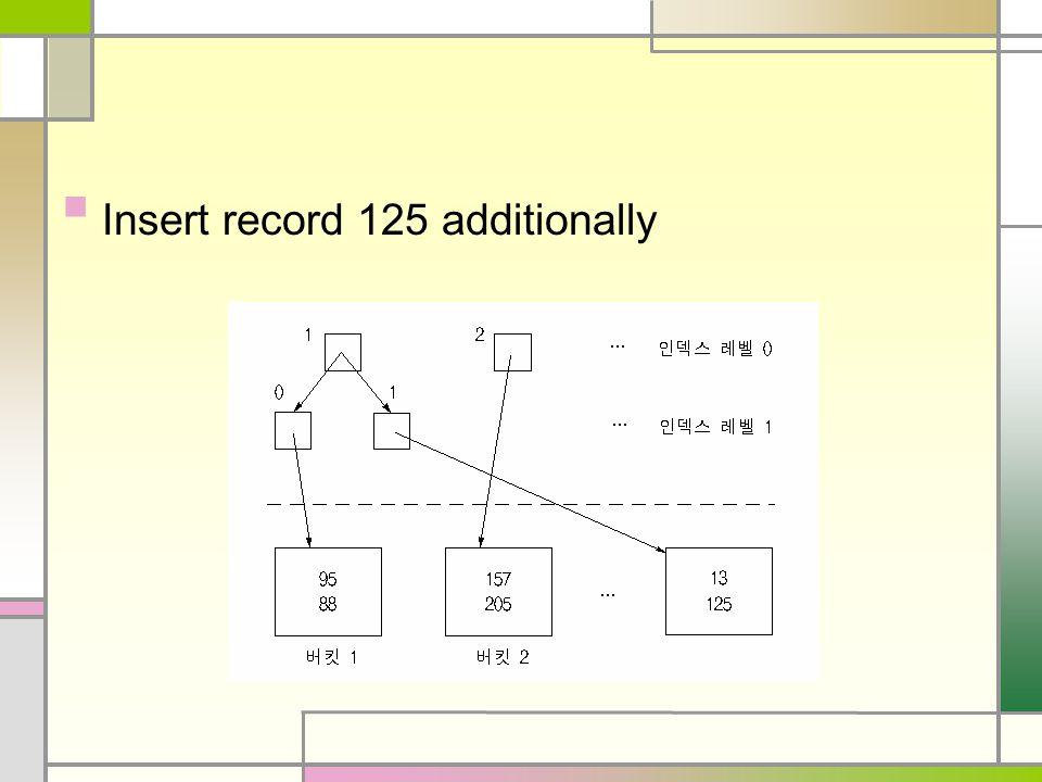 Insert record 125 additionally