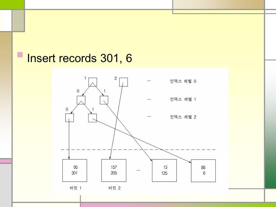 Insert records 301, 6