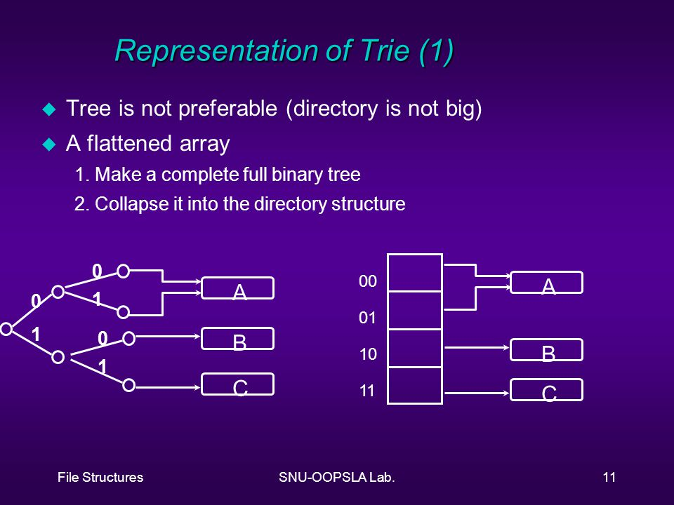 File StructuresSNU-OOPSLA Lab.11 Representation of Trie (1) u Tree is not preferable (directory is not big) u A flattened array 1.