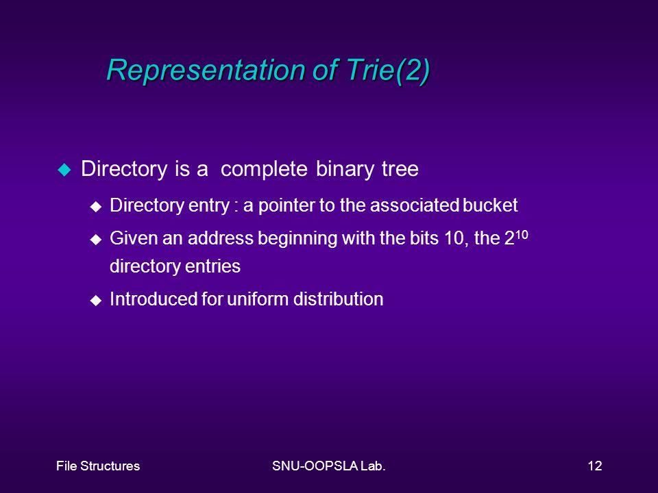 File StructuresSNU-OOPSLA Lab.12 Representation of Trie(2) u Directory is a complete binary tree u Directory entry : a pointer to the associated bucket u Given an address beginning with the bits 10, the 2 10 directory entries u Introduced for uniform distribution