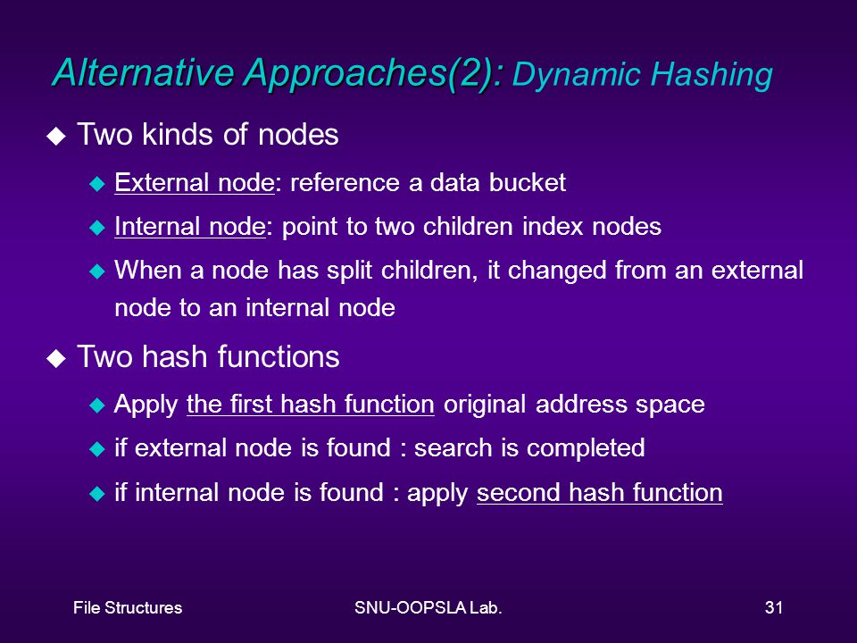 File StructuresSNU-OOPSLA Lab.31 u Two kinds of nodes u External node: reference a data bucket u Internal node: point to two children index nodes u When a node has split children, it changed from an external node to an internal node u Two hash functions u Apply the first hash function original address space u if external node is found : search is completed u if internal node is found : apply second hash function Alternative Approaches(2): Alternative Approaches(2): Dynamic Hashing