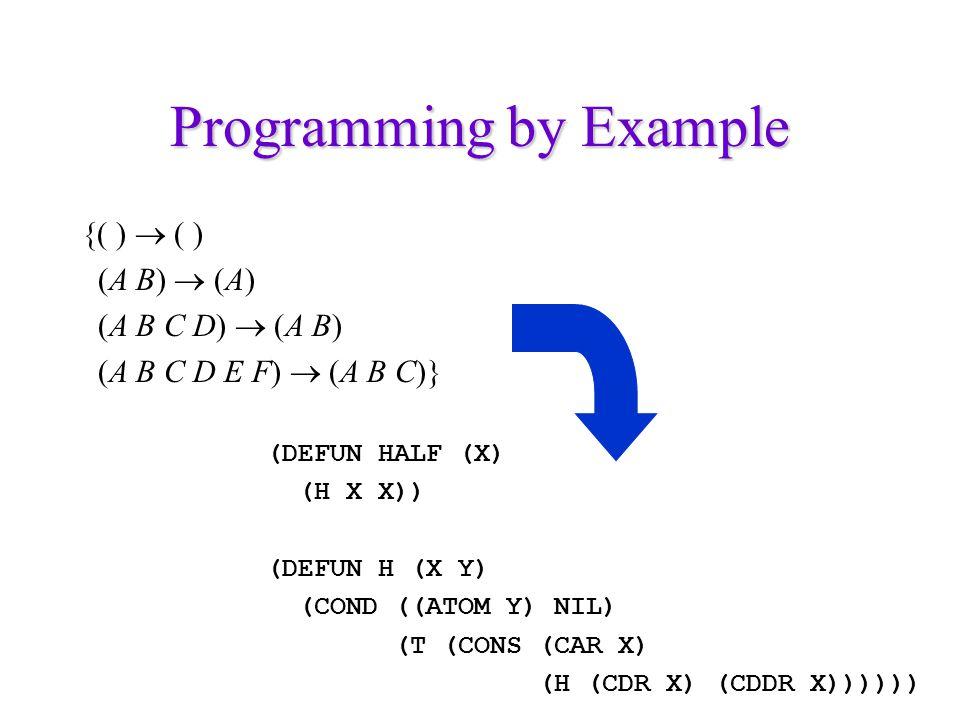 Programming by Example {( )  ( ) (A B)  (A) (A B C D)  (A B) (A B C D E F)  (A B C)} (DEFUN HALF (X) (H X X)) (DEFUN H (X Y) (COND ((ATOM Y) NIL) (T (CONS (CAR X) (H (CDR X) (CDDR X))))))