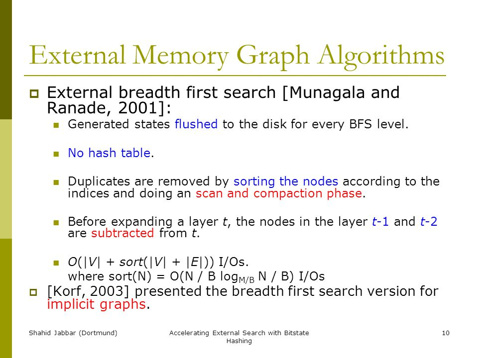 Shahid Jabbar (Dortmund)Accelerating External Search with Bitstate Hashing 10 External Memory Graph Algorithms  External breadth first search [Munagala and Ranade, 2001]: Generated states flushed to the disk for every BFS level.