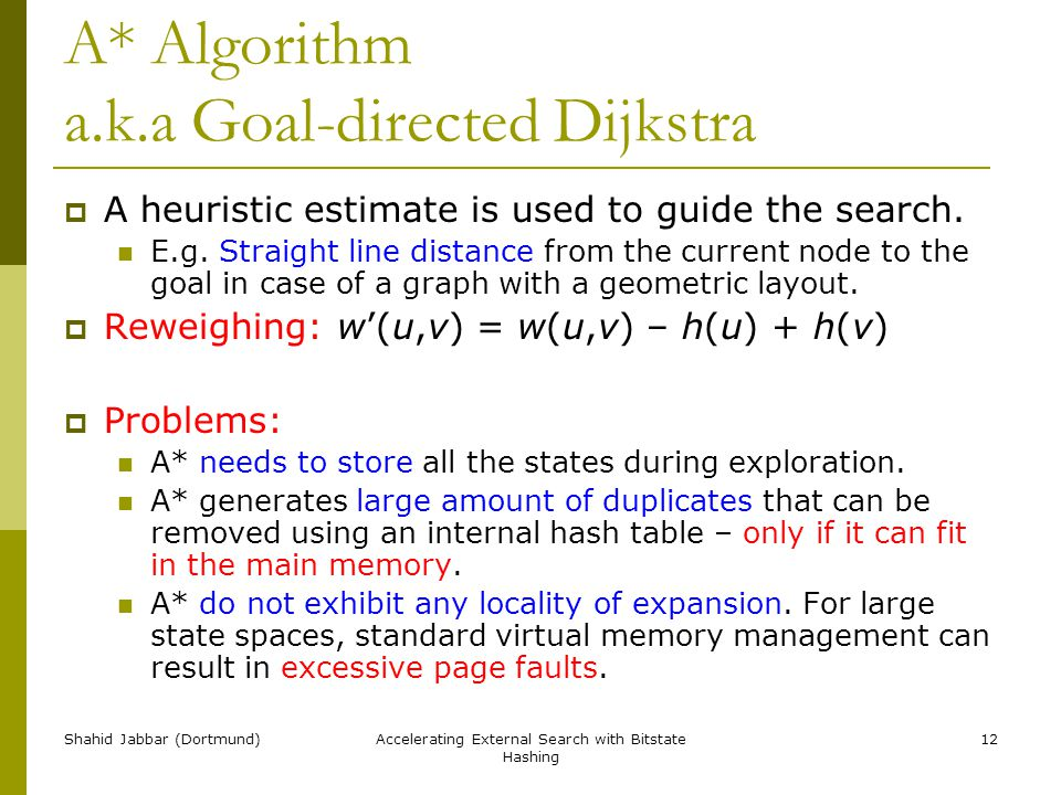 Shahid Jabbar (Dortmund)Accelerating External Search with Bitstate Hashing 12 A* Algorithm a.k.a Goal-directed Dijkstra  A heuristic estimate is used to guide the search.
