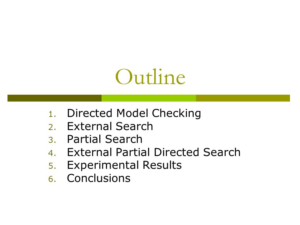 Outline 1.Directed Model Checking 2. External Search 3.