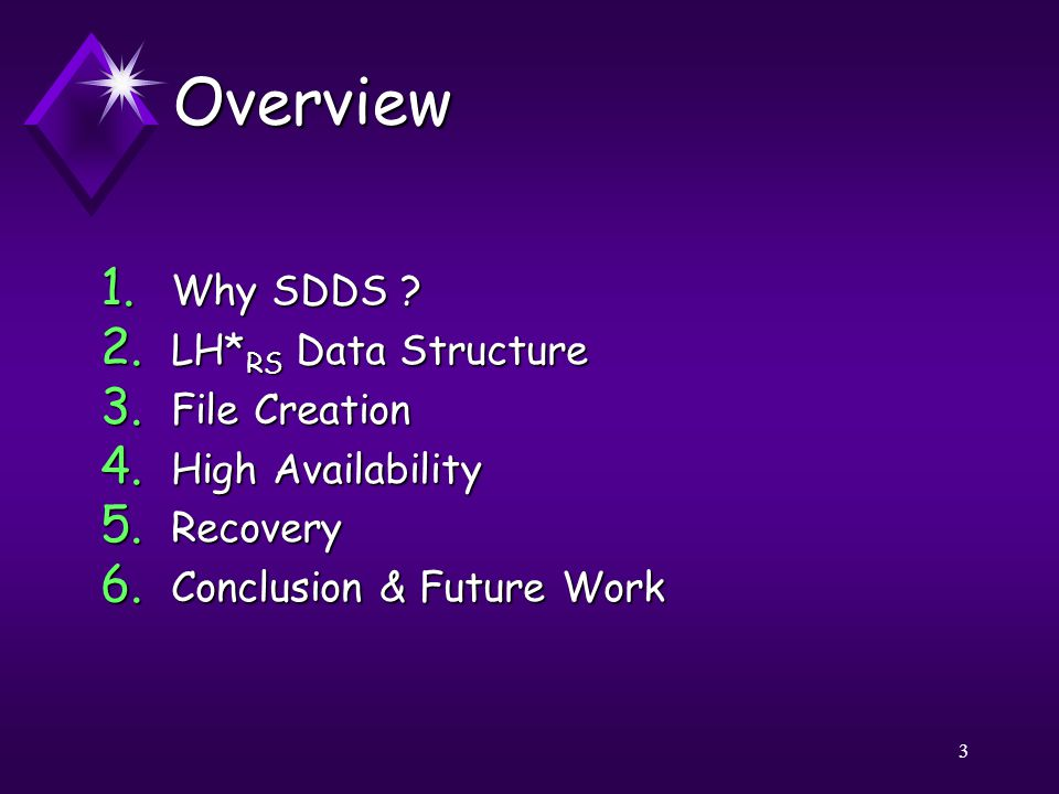 3 Overview 1. Why SDDS . 2. LH* RS Data Structure 3.
