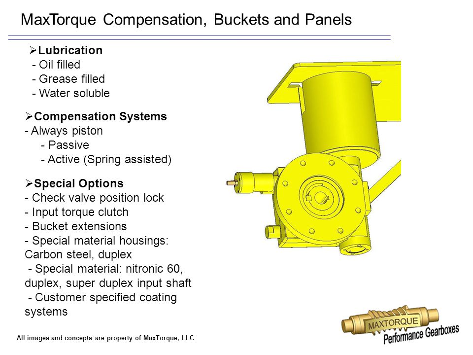 All images and concepts are property of MaxTorque, LLC MaxTorque Compensation, Buckets and Panels  Compensation Systems - Always piston - Passive - A
