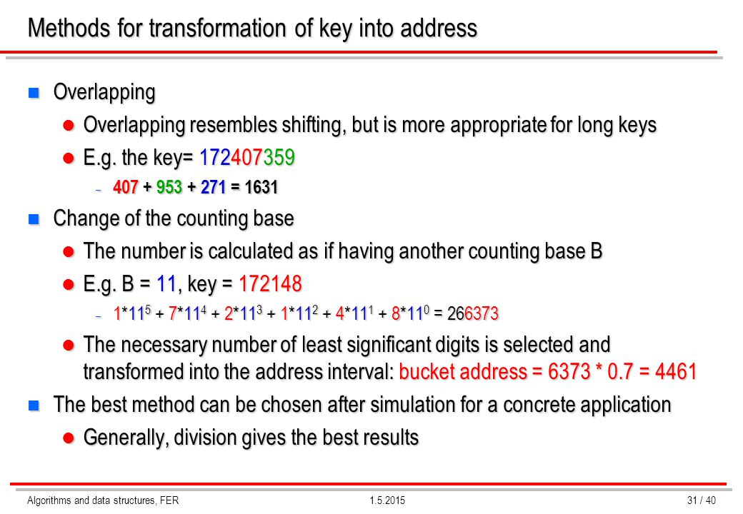 Algorithms and data structures, FER1.5.2015 Methods for transformation of key into address n Overlapping Overlapping resembles shifting, but is more a