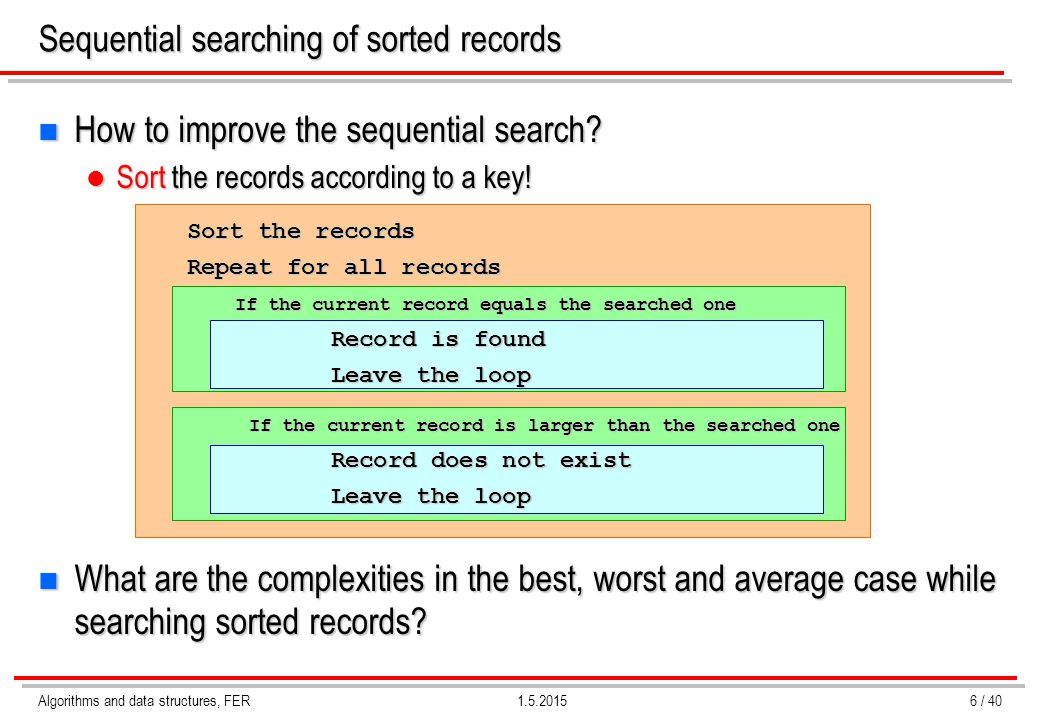 Algorithms and data structures, FER1.5.2015 Sequential searching of sorted records n How to improve the sequential search? Sort the records according