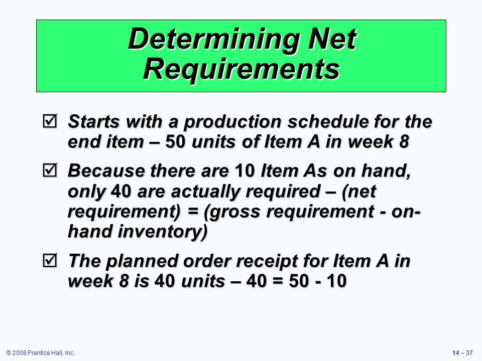 © 2008 Prentice Hall, Inc.14 – 37 Determining Net Requirements  Starts with a production schedule for the end item – 50 units of Item A in week 8  B
