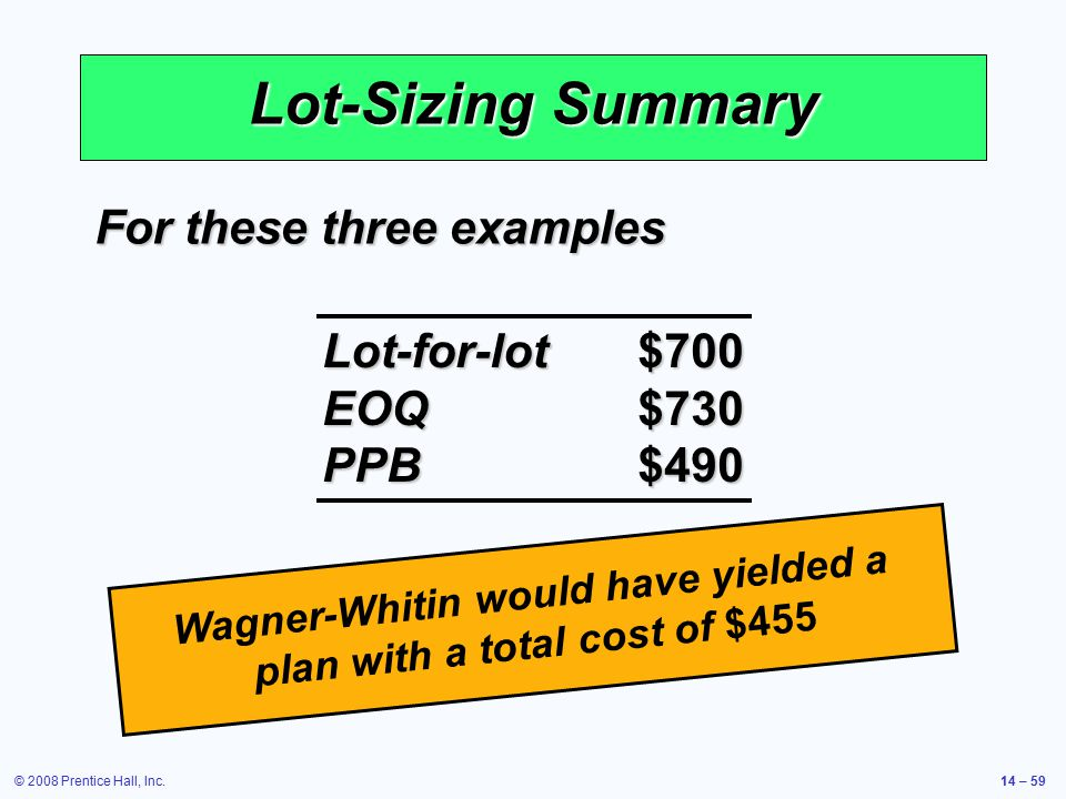 © 2008 Prentice Hall, Inc.14 – 59 Lot-Sizing Summary For these three examples Lot-for-lot$700 EOQ$730 PPB$490 Wagner-Whitin would have yielded a plan