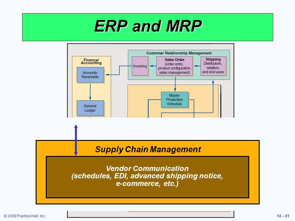 © 2008 Prentice Hall, Inc.14 – 81 ERP and MRP Figure 14.11 Supply Chain Management Vendor Communication (schedules, EDI, advanced shipping notice, e-c