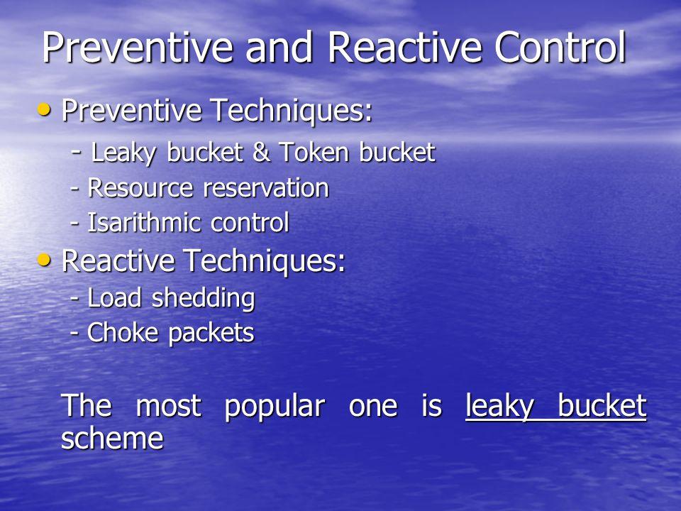 Preventive and Reactive Control Preventive Techniques: Preventive Techniques: - Leaky bucket & Token bucket - Leaky bucket & Token bucket - Resource r
