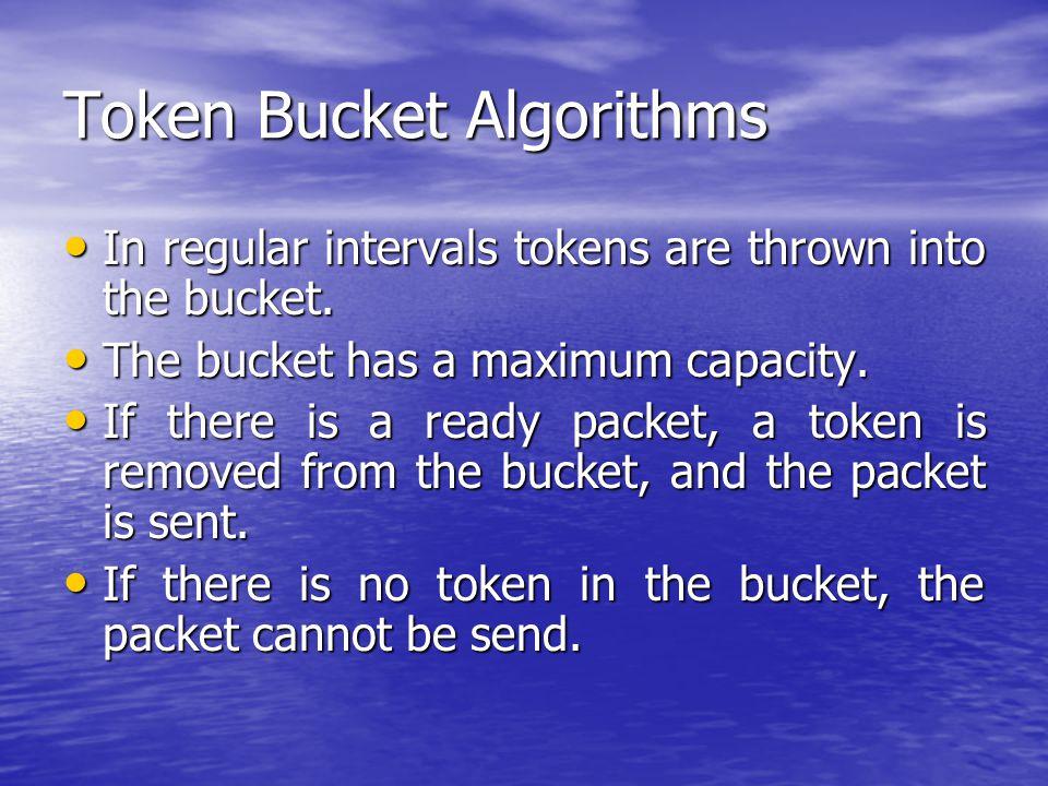 Token Bucket Algorithms In regular intervals tokens are thrown into the bucket.