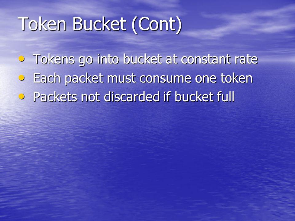 Token Bucket (Cont) Tokens go into bucket at constant rate Tokens go into bucket at constant rate Each packet must consume one token Each packet must consume one token Packets not discarded if bucket full Packets not discarded if bucket full