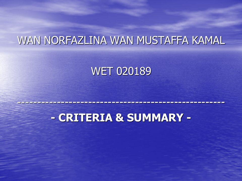 WAN NORFAZLINA WAN MUSTAFFA KAMAL WET 020189 ----------------------------------------------------- - CRITERIA & SUMMARY -