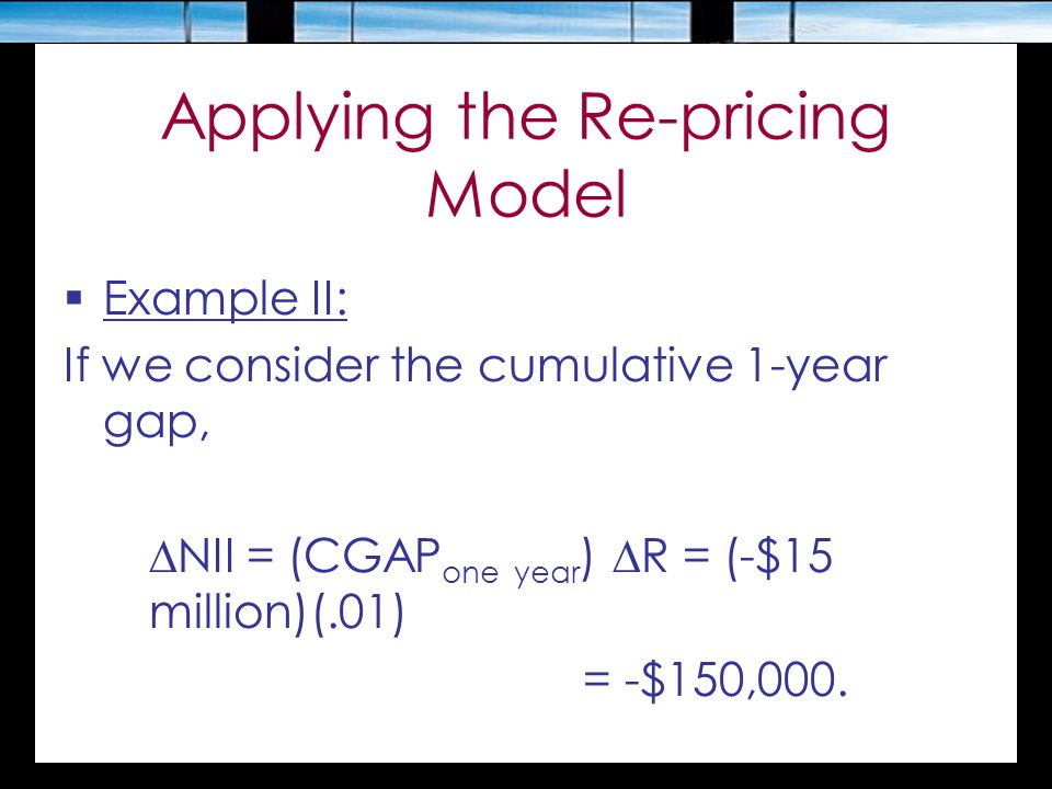 Applying the Re-pricing Model  Example II: If we consider the cumulative 1-year gap,  NII = (CGAP one year )  R = (-$15 million)(.01) = -$150,000.