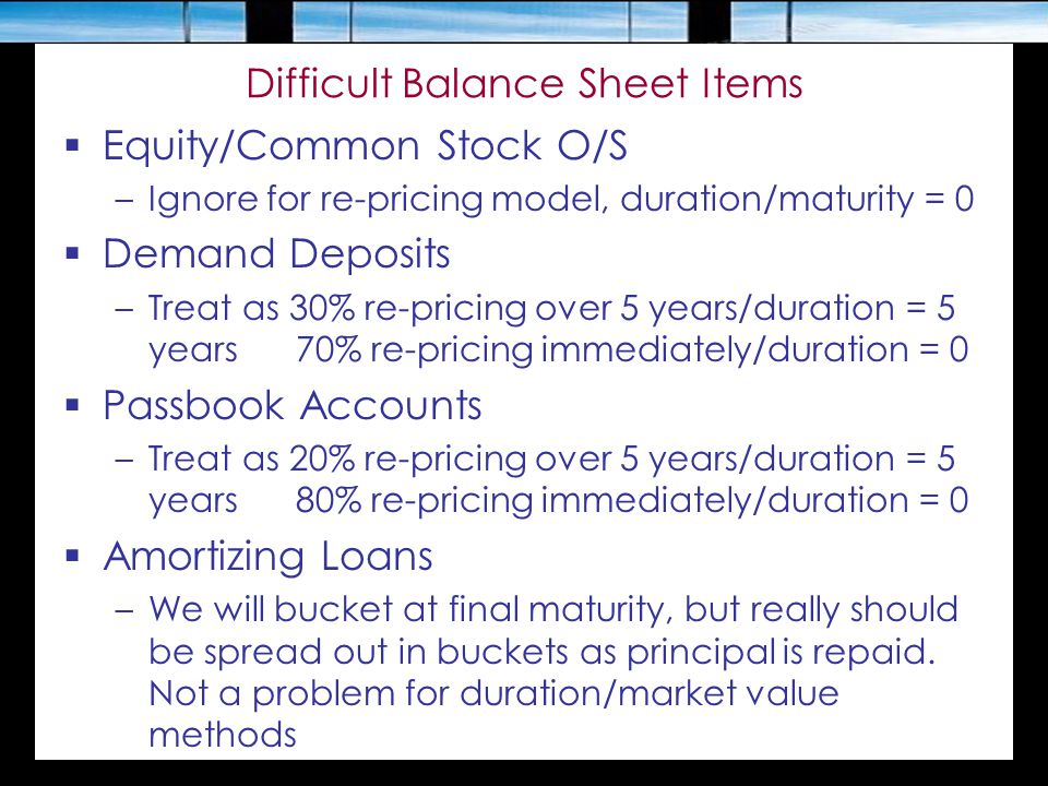 Difficult Balance Sheet Items  Equity/Common Stock O/S –Ignore for re-pricing model, duration/maturity = 0  Demand Deposits –Treat as 30% re-pricing