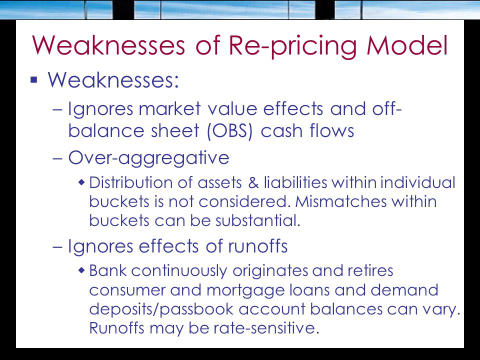 Weaknesses of Re-pricing Model  Weaknesses: –Ignores market value effects and off- balance sheet (OBS) cash flows –Over-aggregative  Distribution of