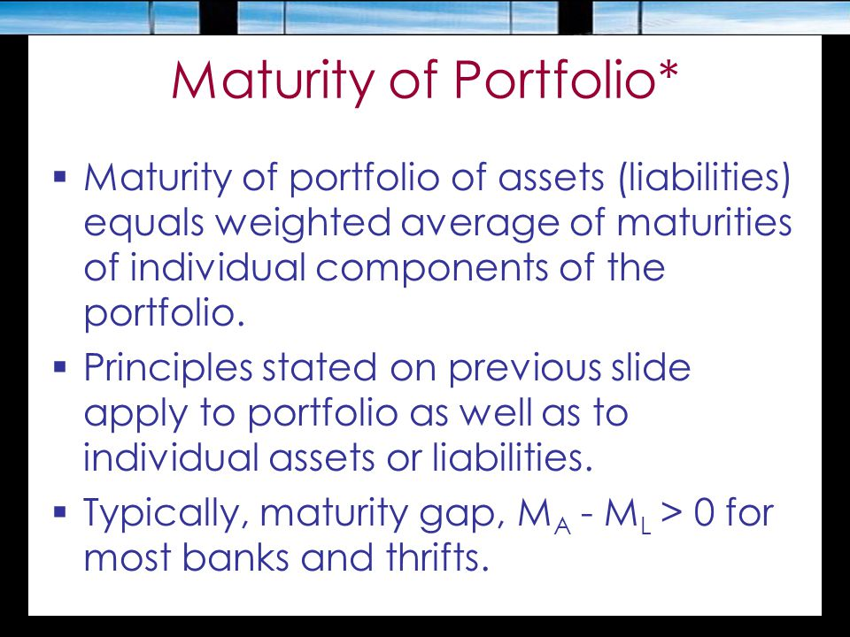 Maturity of Portfolio*  Maturity of portfolio of assets (liabilities) equals weighted average of maturities of individual components of the portfolio