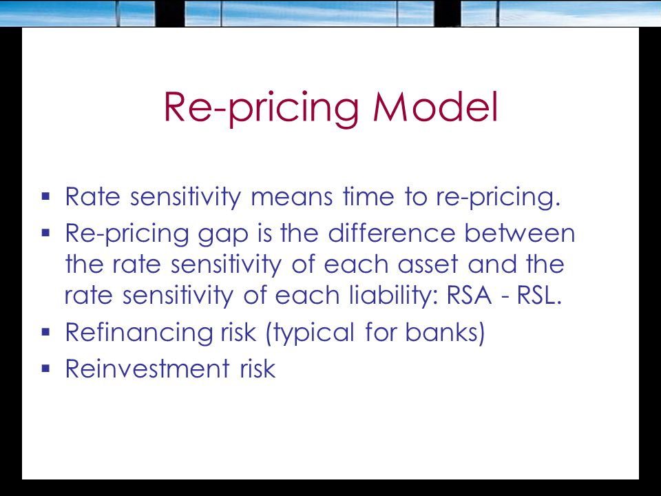 Re-pricing Model  Rate sensitivity means time to re-pricing.  Re-pricing gap is the difference between the rate sensitivity of each asset and the ra