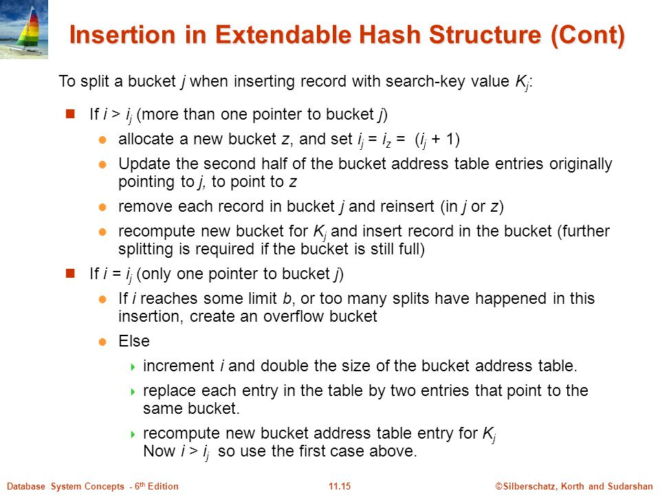 ©Silberschatz, Korth and Sudarshan11.15Database System Concepts - 6 th Edition Insertion in Extendable Hash Structure (Cont) If i > i j (more than one pointer to bucket j) allocate a new bucket z, and set i j = i z = (i j + 1) Update the second half of the bucket address table entries originally pointing to j, to point to z remove each record in bucket j and reinsert (in j or z) recompute new bucket for K j and insert record in the bucket (further splitting is required if the bucket is still full) If i = i j (only one pointer to bucket j) If i reaches some limit b, or too many splits have happened in this insertion, create an overflow bucket Else  increment i and double the size of the bucket address table.