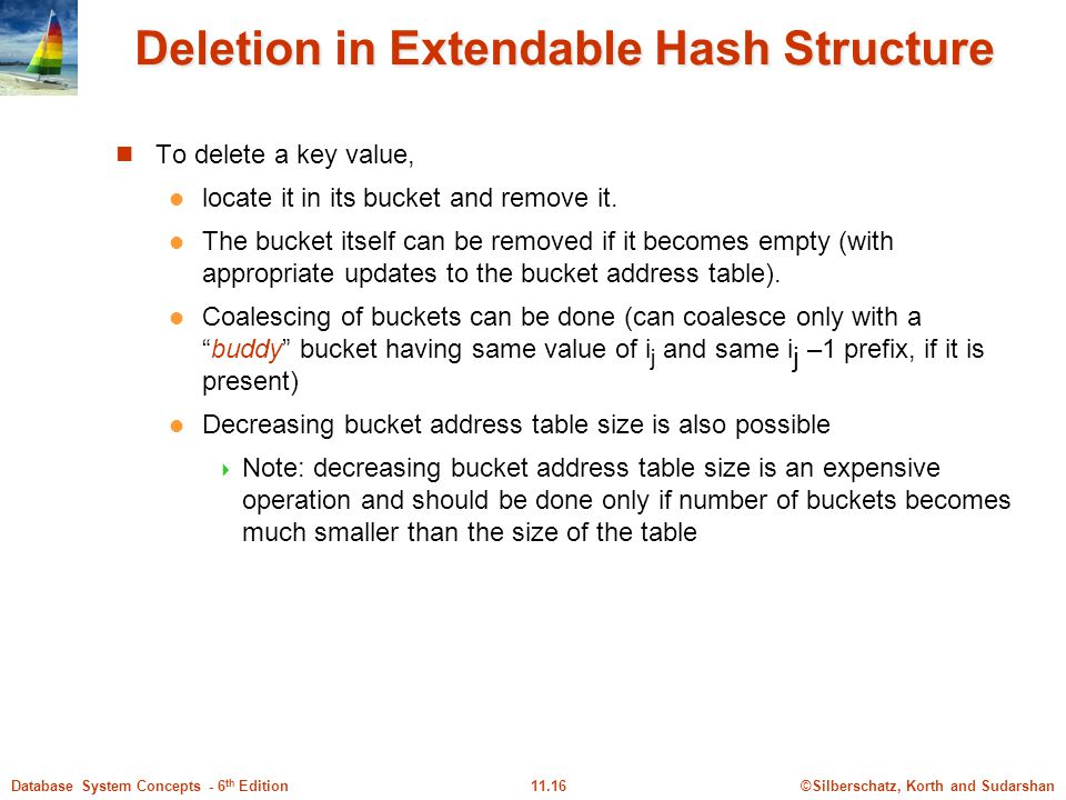 ©Silberschatz, Korth and Sudarshan11.16Database System Concepts - 6 th Edition Deletion in Extendable Hash Structure To delete a key value, locate it in its bucket and remove it.
