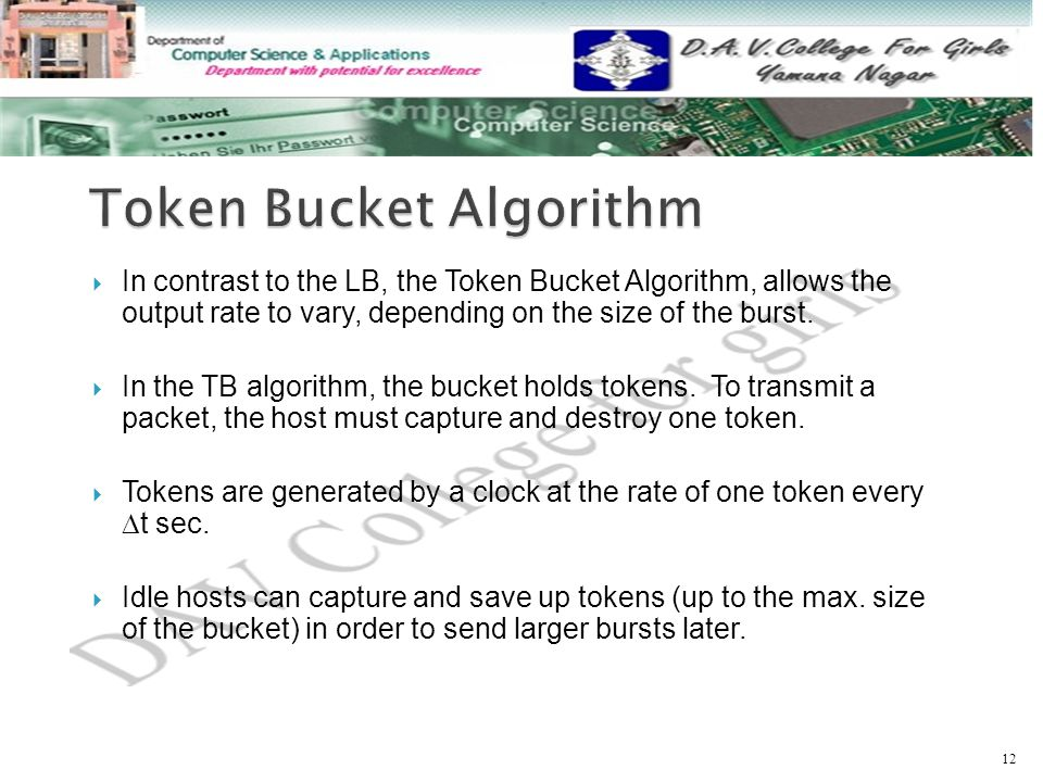  In contrast to the LB, the Token Bucket Algorithm, allows the output rate to vary, depending on the size of the burst.