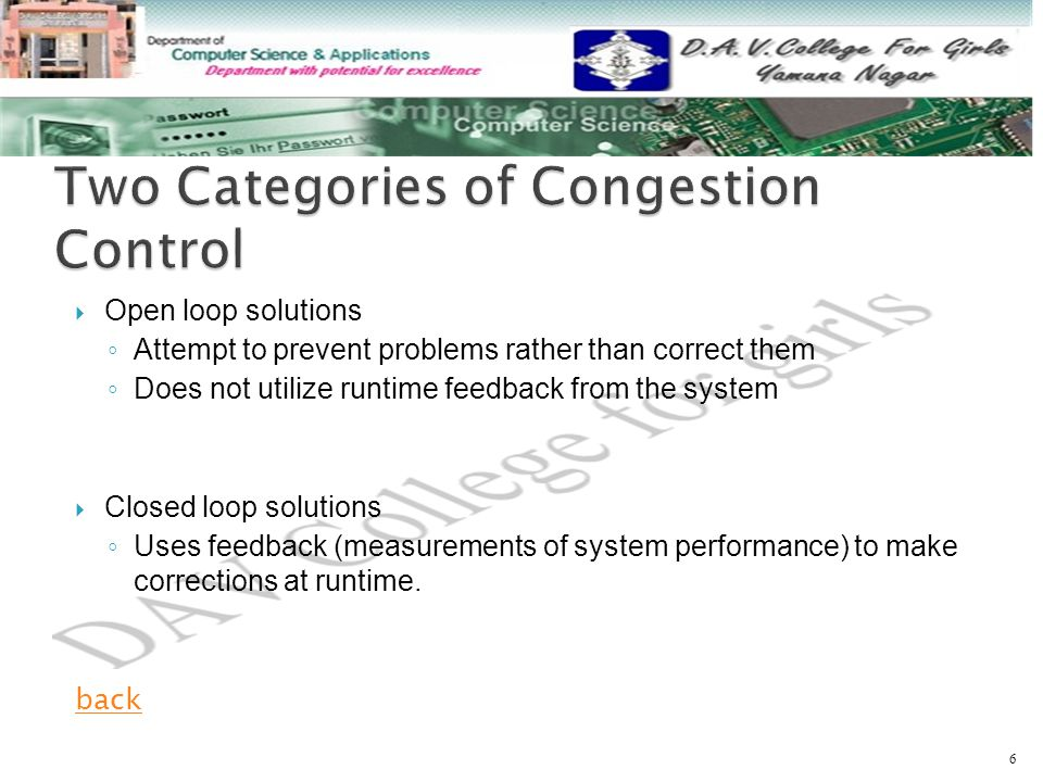  Open loop solutions ◦ Attempt to prevent problems rather than correct them ◦ Does not utilize runtime feedback from the system  Closed loop solutions ◦ Uses feedback (measurements of system performance) to make corrections at runtime.