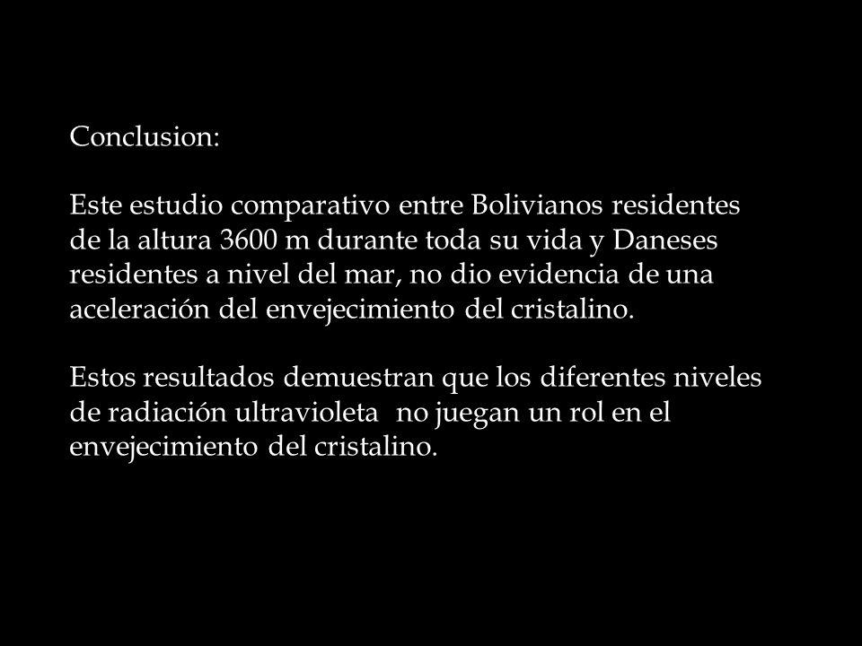 Conclusion: Este estudio comparativo entre Bolivianos residentes de la altura 3600 m durante toda su vida y Daneses residentes a nivel del mar, no dio evidencia de una aceleración del envejecimiento del cristalino.