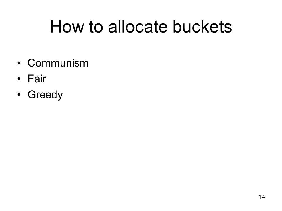 14 How to allocate buckets Communism Fair Greedy