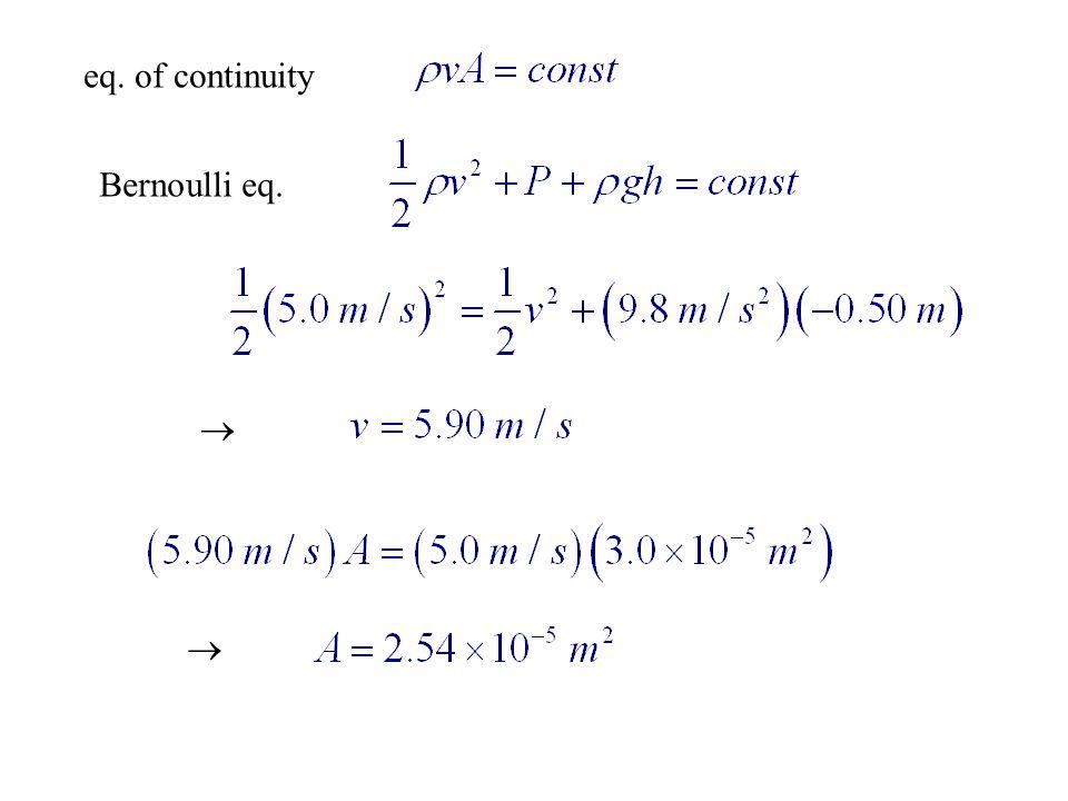 eq. of continuity Bernoulli eq.  