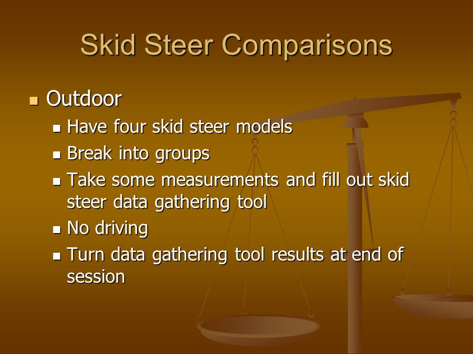 Skid Steer Comparisons Outdoor Outdoor Have four skid steer models Have four skid steer models Break into groups Break into groups Take some measurements and fill out skid steer data gathering tool Take some measurements and fill out skid steer data gathering tool No driving No driving Turn data gathering tool results at end of session Turn data gathering tool results at end of session